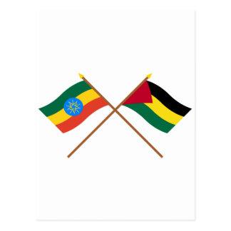 Ethiopia and Benishangul-Gumaz Crossed Flags Postcard