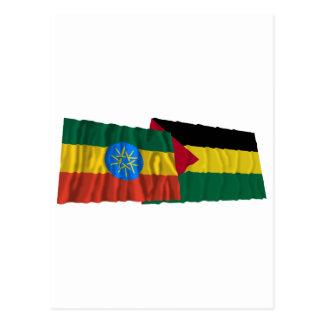 Ethiopia and Benishangul-Gumaz Waving Flags Postcard
