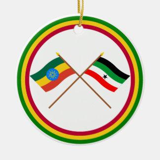 Ethiopia and Gambella Crossed Flags Ornament