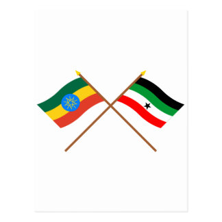 Ethiopia and Gambella Crossed Flags Postcard