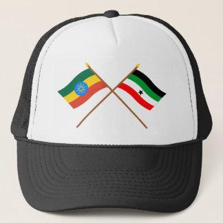 Ethiopia and Gambella Crossed Flags Trucker Hat