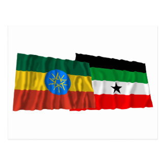 Ethiopia and Gambella Waving Flags Postcard