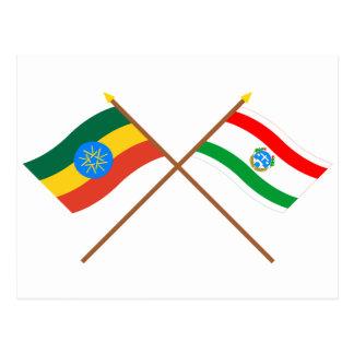 Ethiopia and Harrari Crossed Flags Postcard