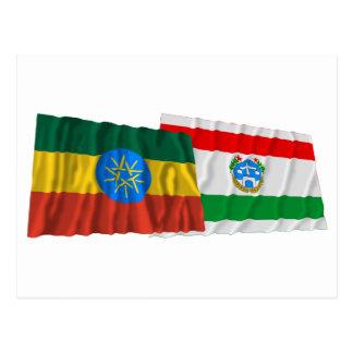 Ethiopia and Harrari Waving Flags Postcard