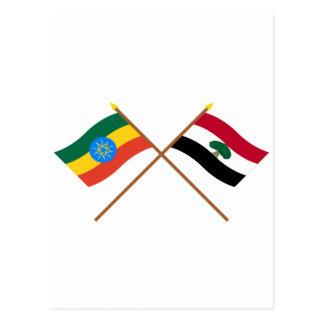 Ethiopia and Oromia Crossed Flags Postcard