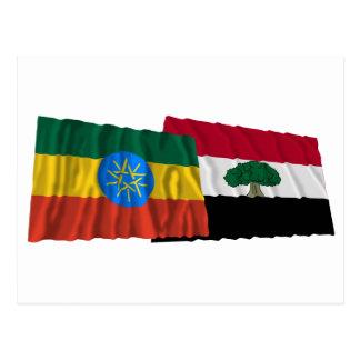 Ethiopia and Oromia Waving Flags Postcard