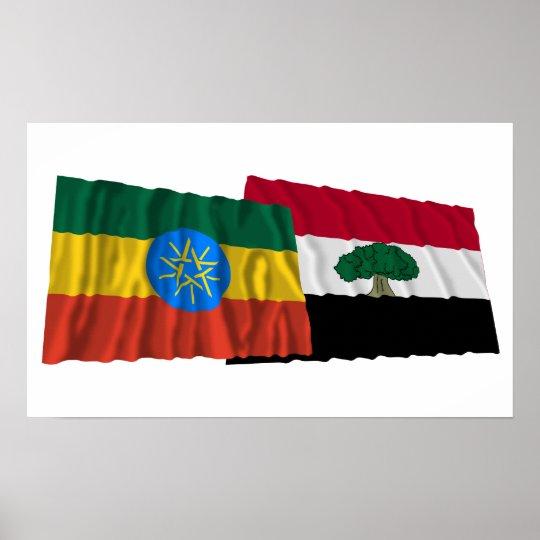 Ethiopia and Oromia Waving Flags Poster