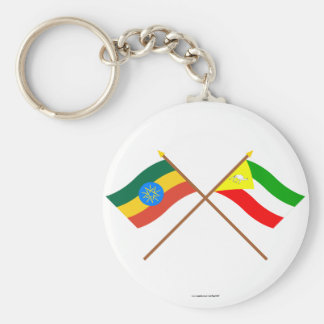 Ethiopia and Somali Crossed Flags Basic Round Button Keychain