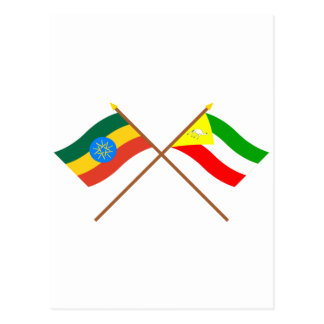 Ethiopia and Somali Crossed Flags Post Card