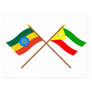 Ethiopia and Somali Crossed Flags Postcard