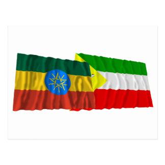 Ethiopia and Somali Waving Flags Postcard