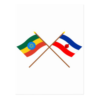 Ethiopia and Southern Crossed Flags Postcard