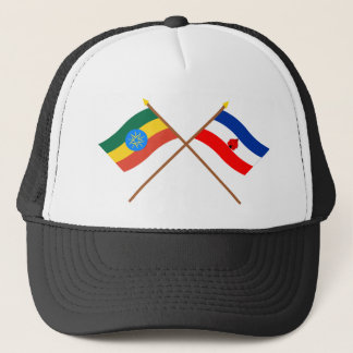 Ethiopia and Southern Crossed Flags Trucker Hat