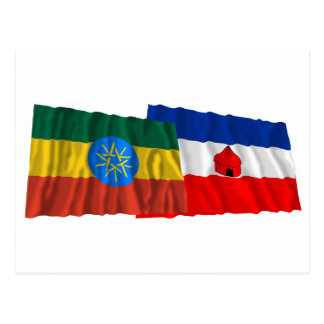 Ethiopia and Southern Waving Flags Postcard