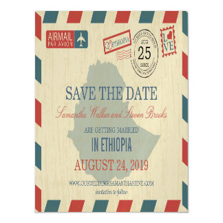 Ethiopia Antique Airmail Save the Date Magnetic Card