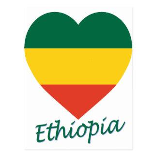 Ethiopia (civil) Flag Heart Postcard