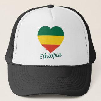Ethiopia (civil) Flag Heart Trucker Hat