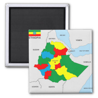 ethiopia country map flag 2 inch square magnet