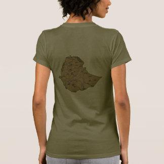 Ethiopia Flag and Map dk T-Shirt T-shirt