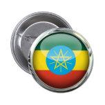 Ethiopia Flag Glass Ball Pinback Button