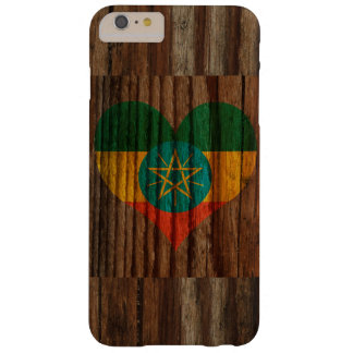 Ethiopia Flag Heart on Wood theme Barely There iPhone 6 Plus Case
