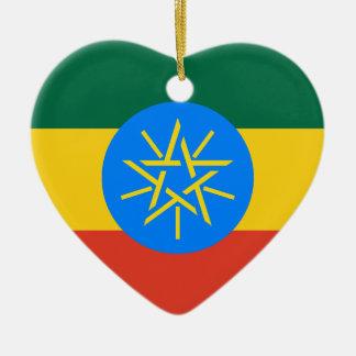 Ethiopia Flag Heart Ornament