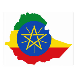 Ethiopia Flag Map ET Postcard