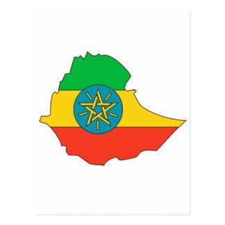 Ethiopia flag map postcard
