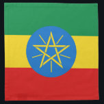"Ethiopia Flag Napkin<br><div class=""desc"">The design on this napkin is the flag of Ethiopia carefully conformed to the square shape. The perfect place setting when serving Ethiopian cuisine.</div>"