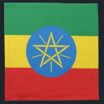 """Ethiopia Flag Napkin<br><div class=""""desc"""">The design on this napkin is the flag of Ethiopia carefully conformed to the square shape. The perfect place setting when serving Ethiopian cuisine.</div>"""