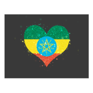 Ethiopia Flag Shining Beautiful Postcard