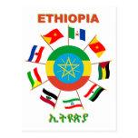 Ethiopia Flags Pinwheel Postcards