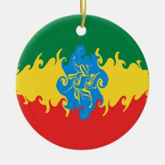 Ethiopia Gnarly Flag Ceramic Ornament