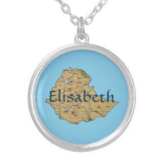 Ethiopia Map + Name Necklace