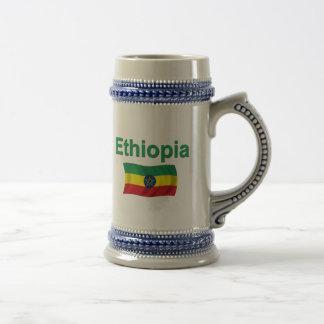 Ethiopia National Flag w inscription Coffee Mugs