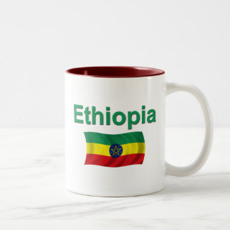 Ethiopia National Flag (w/inscription) Two-Tone Coffee Mug