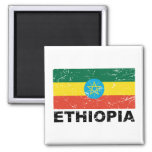 Ethiopia Vintage Flag 2 Inch Square Magnet