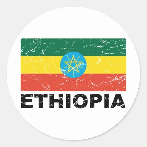 Ethiopia Vintage Flag Classic Round Sticker