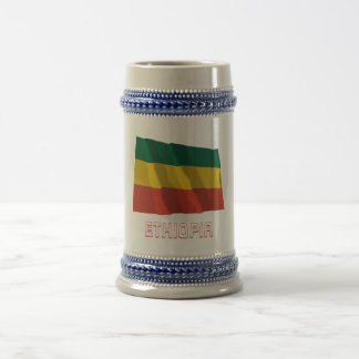 Ethiopia Waving Civil Flag with Name Beer Stein