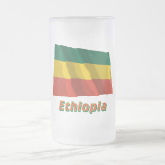 Ethiopia Waving Civil Flag with Name Frosted Glass Beer Mug