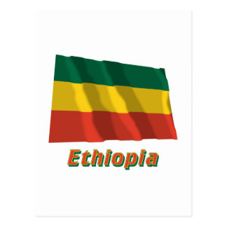 Ethiopia Waving Civil Flag with Name Postcard