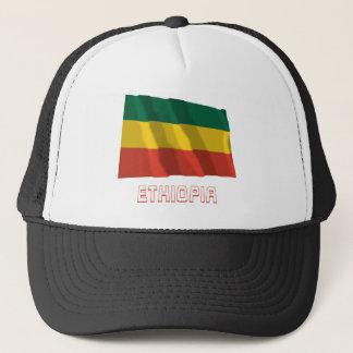 Ethiopia Waving Civil Flag with Name Trucker Hat