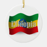 Ethiopia Waving Flag Double-Sided Ceramic Round Christmas Ornament