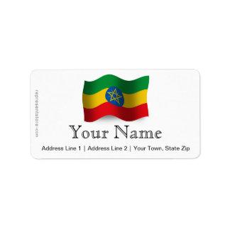 Ethiopia Waving Flag Label
