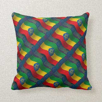 Ethiopia Waving Flag Throw Pillow