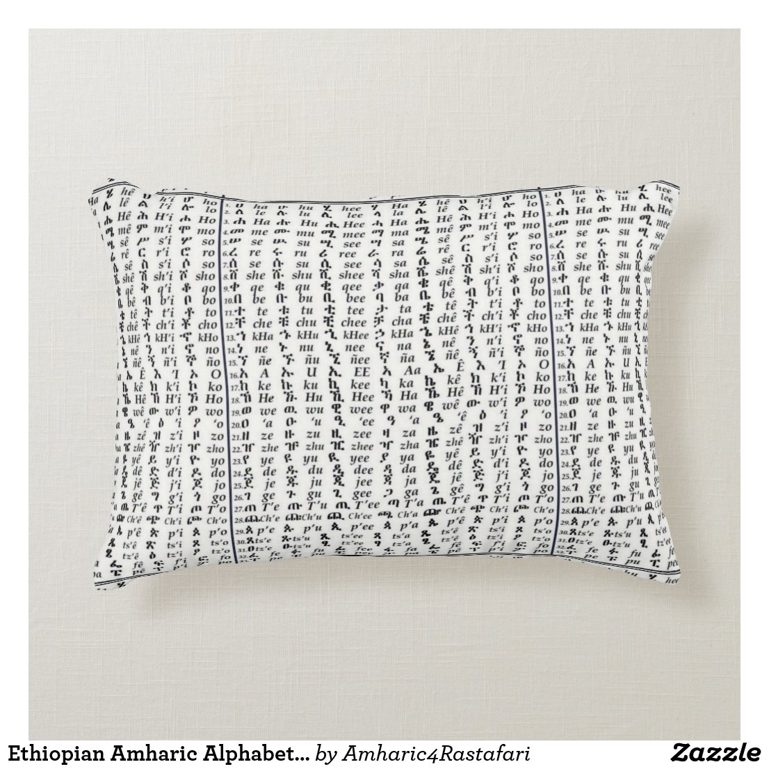 Ethiopian Amharic Alphabet Ge'ez Accent Pillow