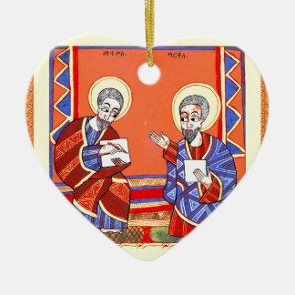 Ethiopian-Bible-Saint-Luke-Saint-John Ceramic Ornament