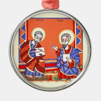 Ethiopian-Bible-Saint-Luke-Saint-John Metal Ornament