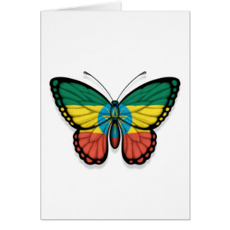Ethiopian Butterfly Flag Greeting Cards
