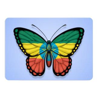 "Ethiopian Butterfly Flag on Blue 5"" X 7"" Invitation Card"
